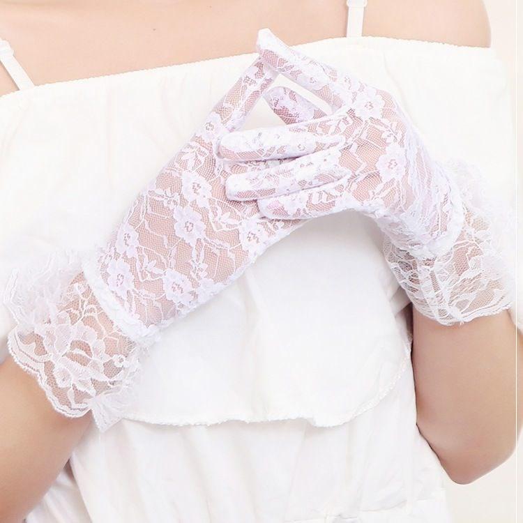 水晶手套丝袜五指婚纱手套蕾丝新款新娘结婚礼服手套半透明薄纱