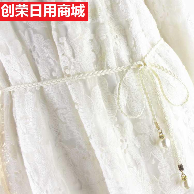 Vintage pearl waist rope woven tassel belt womens fine decoration dress with all kinds of fine leather rope in Korean version