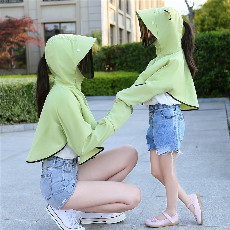 夏户外骑车防紫外线亲子防晒衣女连帽儿童披肩透气遮脸护颈面罩衫
