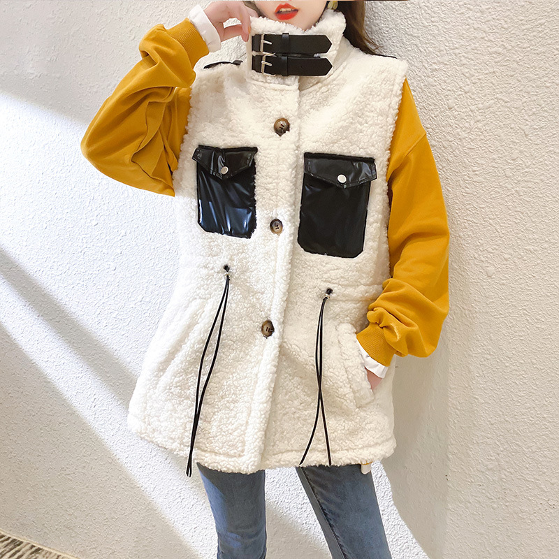 2020 winter new Korean version small fragrance vest vest fur one-piece vest waistcoat