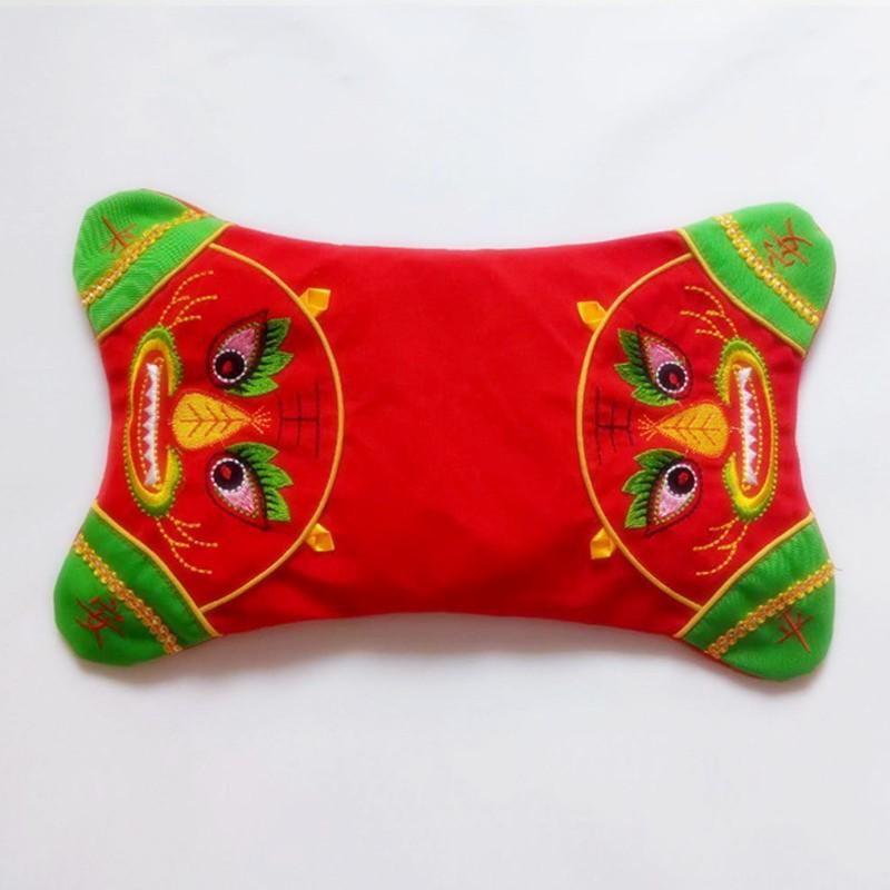 定型新生平安刺绣红色荞麦龙凤老虎蚕砂枕头五毒枕套壳婴儿宝宝枕