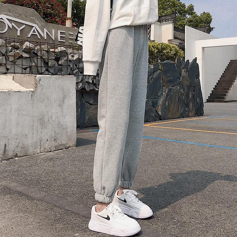 2020春秋薄款灰色运动裤女宽松束脚哈伦裤子九分直筒韩版休闲卫裤