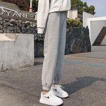 2021春秋新款灰色薄款运动裤女宽松束脚哈伦裤显瘦小个子休闲卫裤