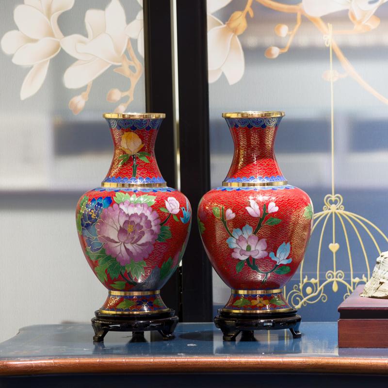程老师手工艺术品周器垒 北京景泰蓝花瓶纯铜胎掐丝珐琅花瓶摆件