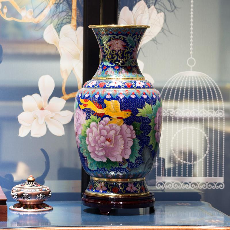 程老师手工景泰蓝15寸花瓶 复古客厅家居博古架装饰品工艺品摆件