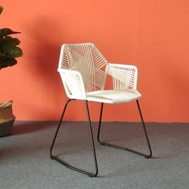 编织单人椅子北欧现代简约家用阳台户外庭院桌椅藤椅金属靠背餐椅