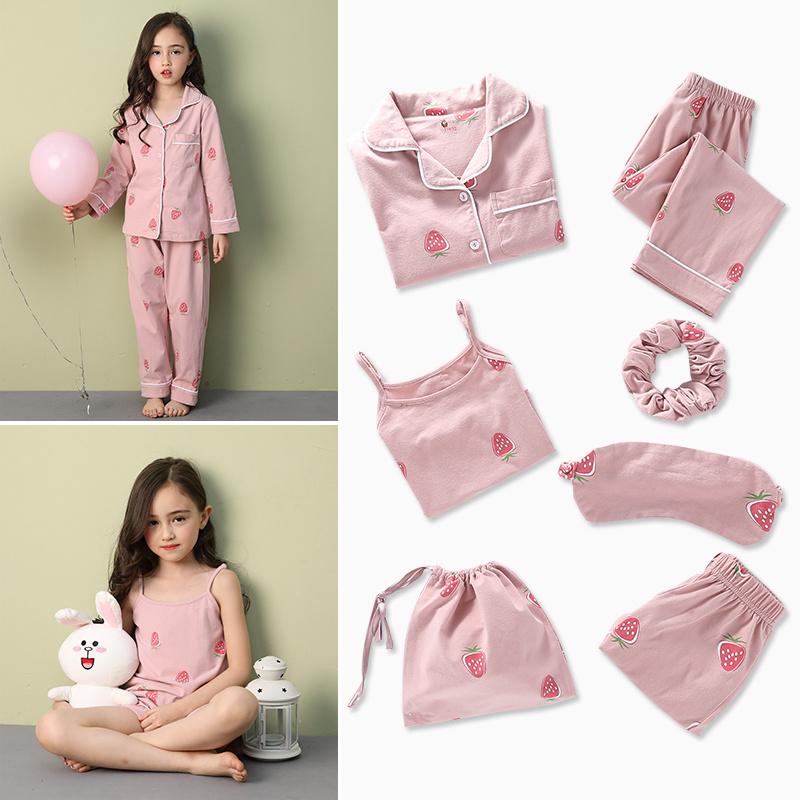 儿童睡衣秋装母女纯棉秋季套装亲子夏季薄款女孩七件套女童家居服