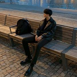 MRCYC 春季皮夹克男士宽松潮流帅气机车服青年韩版休闲皮衣外套