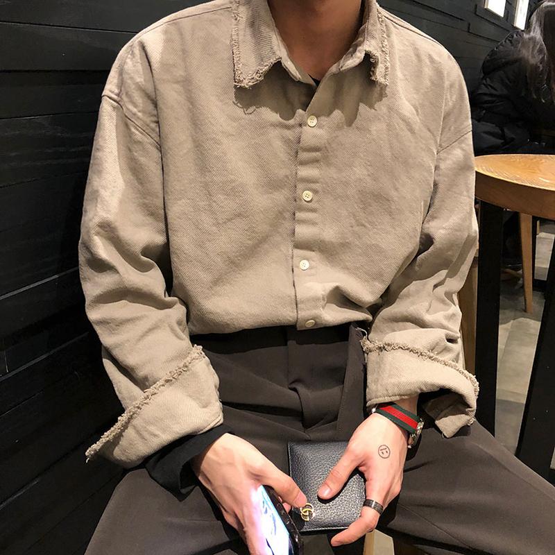 MRCYC秋季新款复古长袖衬衫外套男士韩版潮流帅气衬衣工装日系风