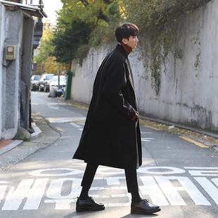 冬季加厚韩版大衣男中长款呢大衣呢子外套潮男宽松毛呢大衣简约男