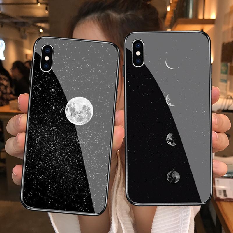 冷淡风月亮月食插画苹果6/6splus/i7/i8/i7p/i8plus钢化玻璃
