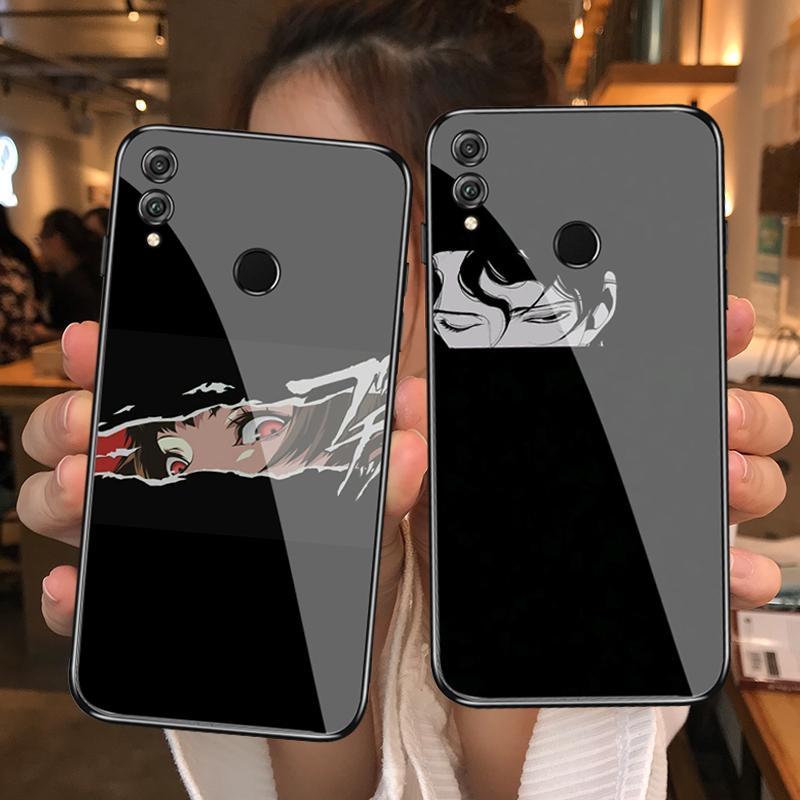 (用5元券)ins二次元动漫暗黑系情侣华为v20/v9/v10/7x磨砂钢化玻璃镜面手机壳荣