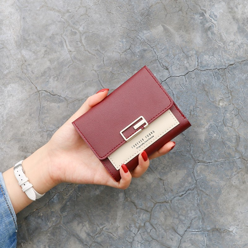 2020 new Japan and South Korea color matching small fresh wallet womens short buckle fashion Mini 30% discount zero wallet