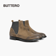 BUTTERO Men's Boots Chelsea Boots Anti-fur Cowhide Made of Old Khaki Italian 6169