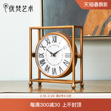 Euro-American bedroom living room countertop clock Youfan art Mini-clock silent home creative tea table pendulum