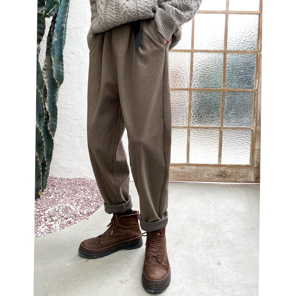 南乙呢子裤男直筒宽松2020冬季韩版潮流毛呢西裤男加厚呢料休闲裤