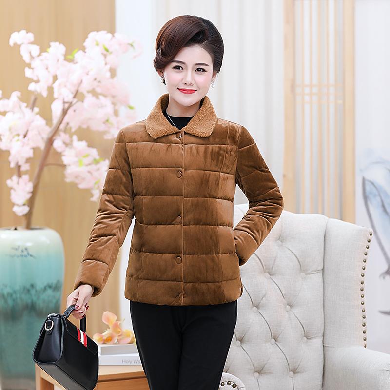 中年女秋冬装金丝绒气质轻薄小棉袄短款4050妈妈洋气方领开衫外套