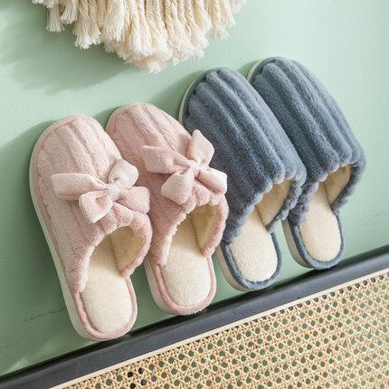 新款情侣居家棉拖鞋女厚底宿舍室内月子鞋家用秋冬可爱保暖毛拖男