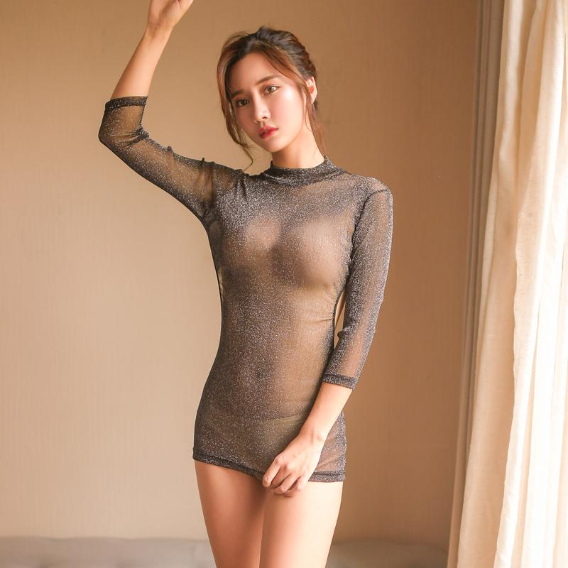 情趣内衣服性感网纱睡裙透视三点式激情用品骚夜火小胸制服套装女图片