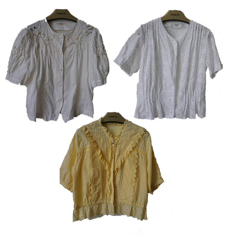 Ancient Vintage Japanese made three dimensional embroidered cotton short sleeve Japanese shirt