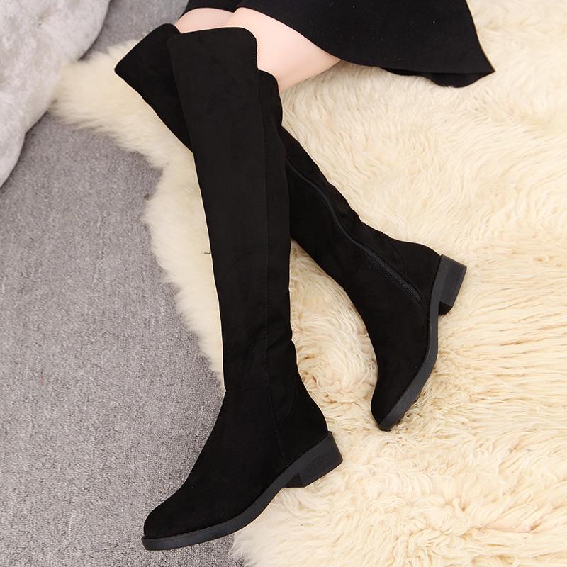 高筒靴长靴女过膝靴子冬加绒长筒靴平底拉链布靴粗跟显瘦春秋女鞋