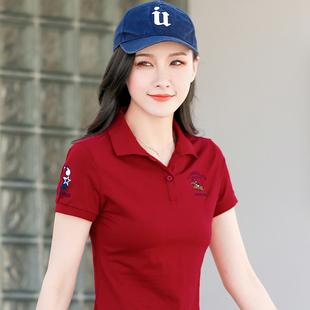 2020新款女士翻领运动上衣短袖t恤女夏潮纯棉有领短款半袖polo衫价格
