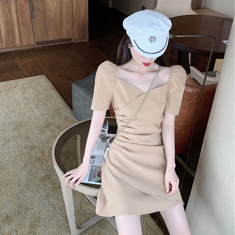Platycodon French retro Hepburn date small skirt small square collar small fragrance dress women summer 2020 NEW