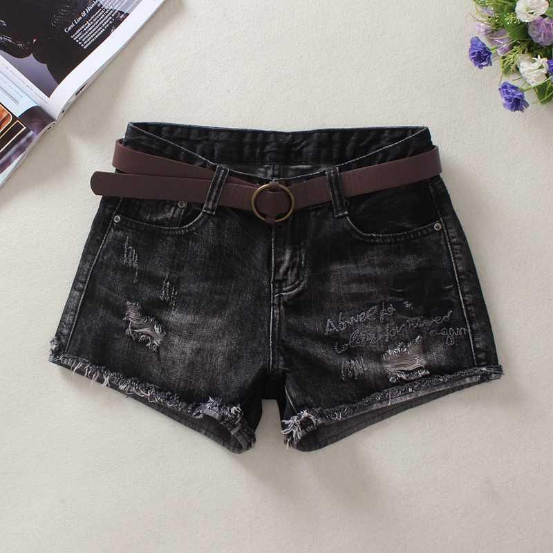 Mid waist Black Denim Shorts womens spring and summer slim outerwear Pants New Korean loose hot pants embroidery