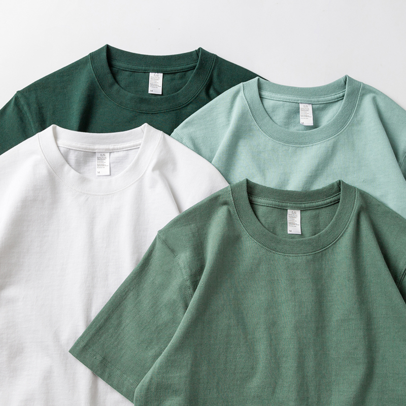 Unsaturated color 270g combed cotton heavyweight short sleeve T-shirt green solid color thick seamless bottoming shirt for men and women