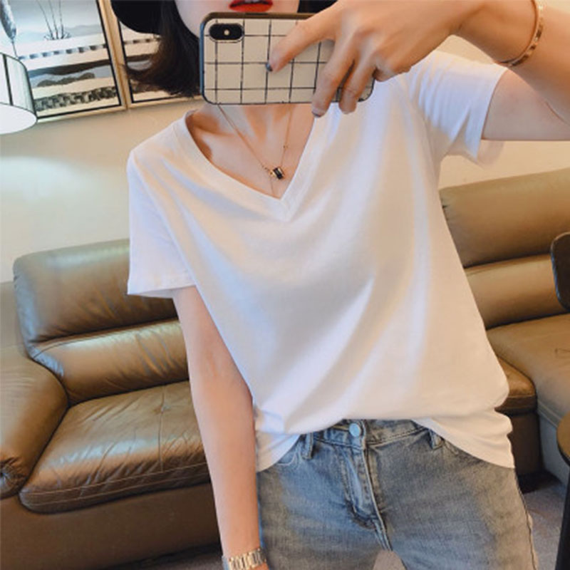 Simple V-neck white T-shirt womens short sleeve loose and versatile Korean casual chicken heart collar womens top summer pure cotton