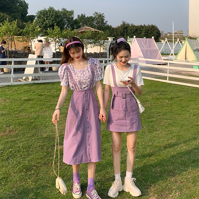 Platycodon French date small skirt girlfriends two suits sisters purple Za floral back dress children summer