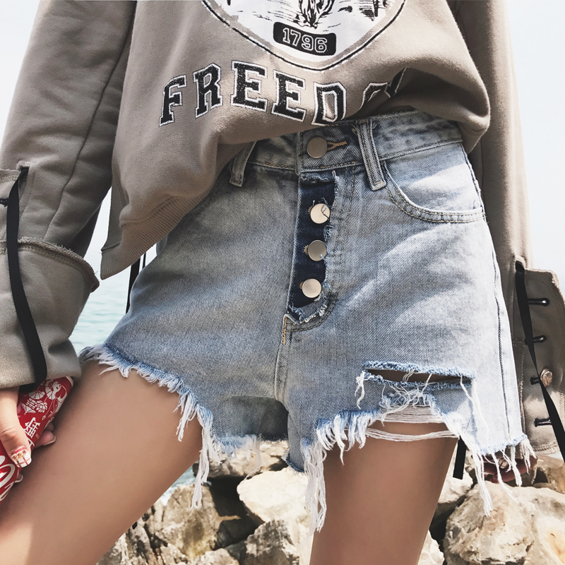 Summer Korean version of fattening and enlarging the size of fat sister Jeans Girl Students hole wide leg pants raw edge shorts hot pants fashion