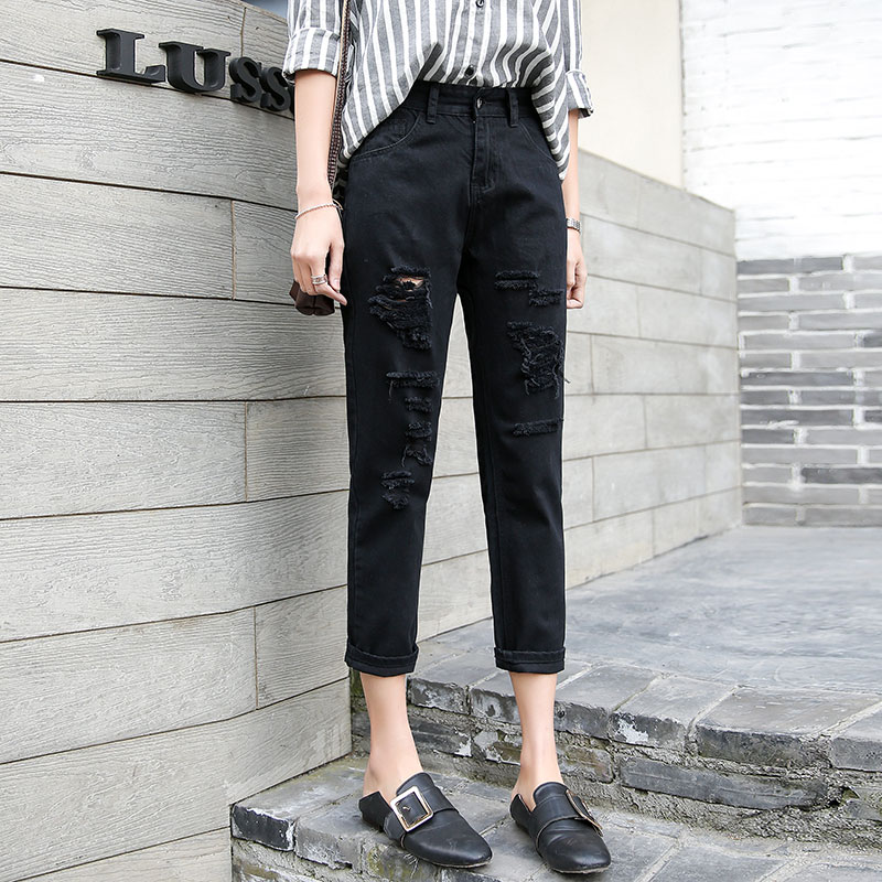 Pure black jeans womens Capris loose chic straight tube spring and summer slim fit Harem Pants with holes