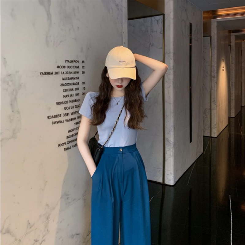 Summer 2020 new womens dress cover belly show thin dress wide leg pants casual sports short sleeve two piece set