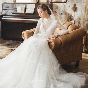 滿庭芳【赫本之戀】法式輕婚紗2020新款新娘女韓超仙簡約森系婚紗
