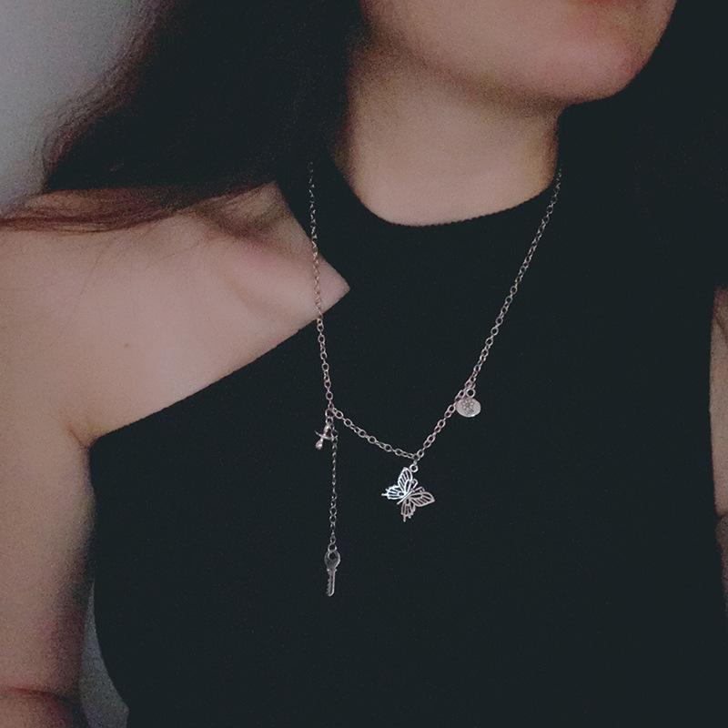 9804choker项圈暗黑系颈链女黑色颈带锁骨链朋克 哥特式蝴蝶项链