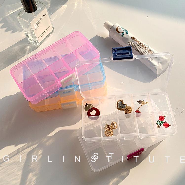 10格透明塑料收纳盒多格子耳钉耳环耳线饰品盒首饰盒子 整理盒子
