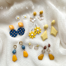 韩国气质黄色花朵耳环女2019新款潮网红高级感时尚简约小清新耳钉