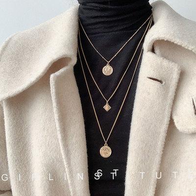 韩国复古金币女2020年新款潮毛衣链