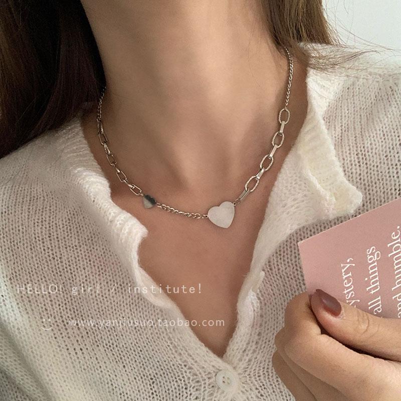 设计感爱心拼接项链女轻奢小众锁骨链...