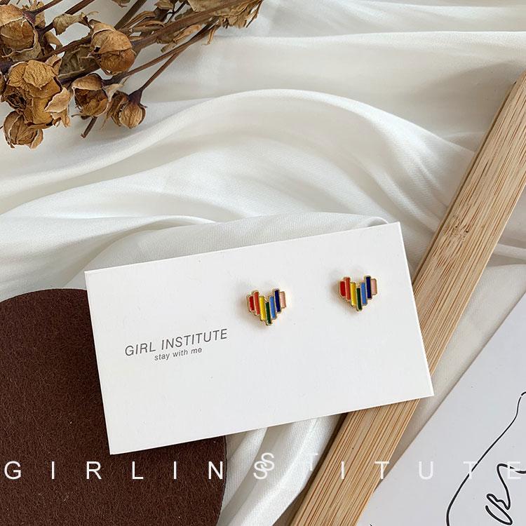 韩国气质彩虹可爱心耳钉女2020年新款潮网红个性简约小巧耳环耳饰