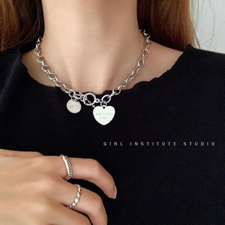 复古钛钢爱心项链女ins潮网红小众设计感简约气质锁骨链短款颈链