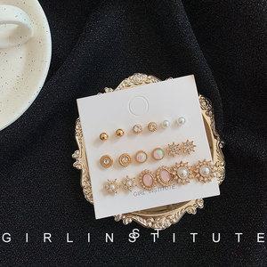 港风复古珍珠耳钉女套装网红气质韩国个性高级感法式简约小巧耳环