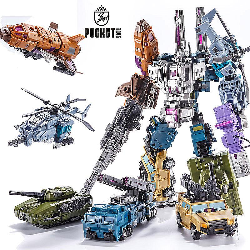 热销0件正品保证小比例合体变形玩具金刚5 PT混天豹战车队汽车机器人口袋拼装模型