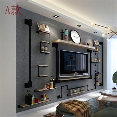创意电视背景墙装饰架隔板墙上置物架客厅铁艺水管工业风机顶盒架