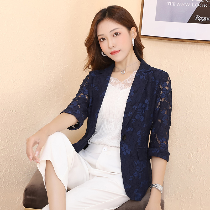 Early spring lace suit coat womens Korean version 2020 spring and autumn new temperament spring hollow womens small suit