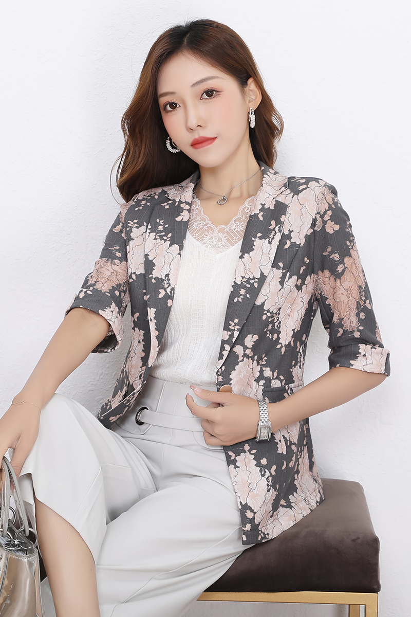 2020 summer new one button lace 5-point sleeve commuter versatile temperament Blazer coat female