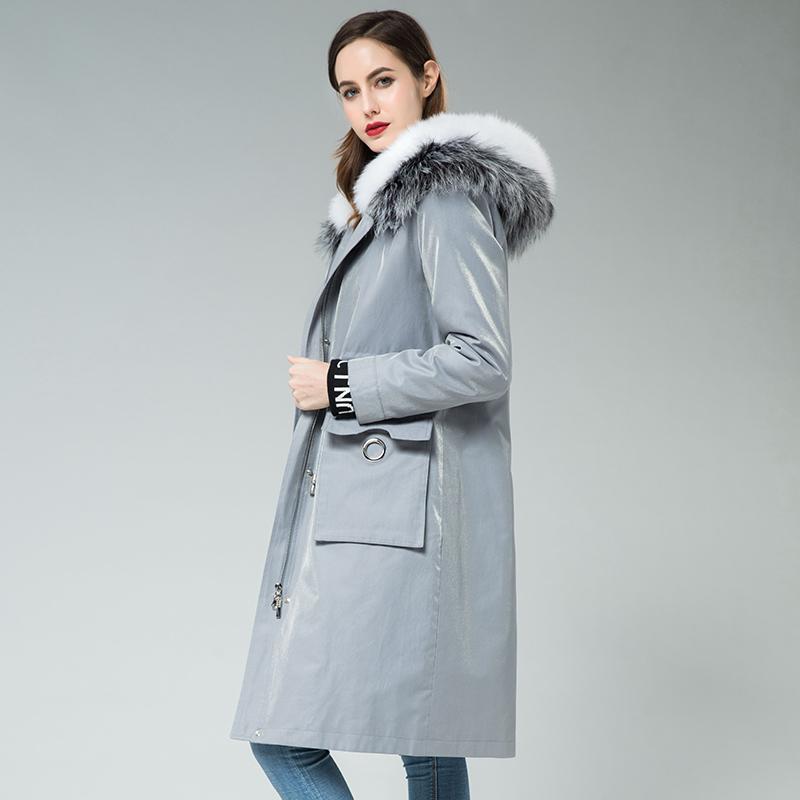 反季派克服女2020冬款大衣狐狸毛领獭兔毛内胆可拆卸长款皮草外套