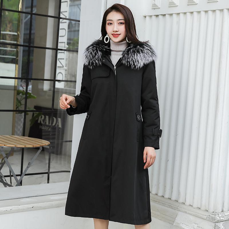 派克服女反季大衣2020新时尚长款獭兔内胆可拆卸皮毛一体皮草外套
