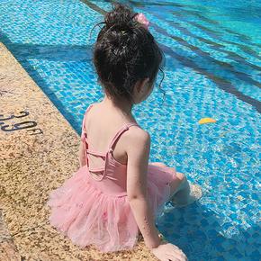 韩国儿童泳衣女童1-3岁宝宝婴儿连体吊带网纱裙式游泳衣温泉泳装